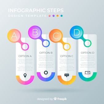 Infographic steps template gradient style