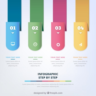 Infographic steps template with numbers