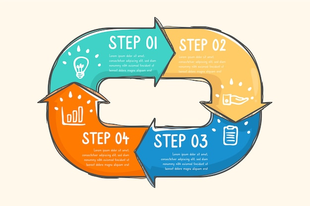 Infographic steps with arrows