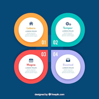 Infographic steps with colors in flat style