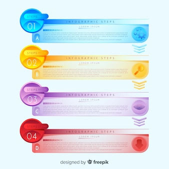 Infographic steps with gradient style