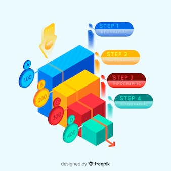 Infographic steps with isometric view