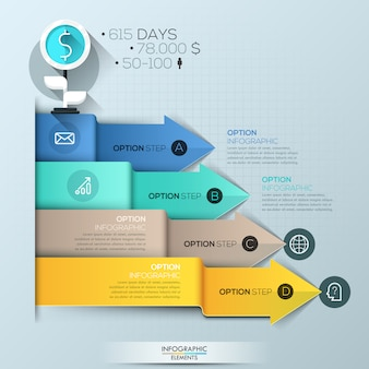 Infographic template, 4 multicolored overlapping arrows pointing