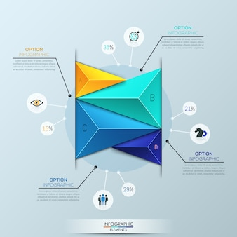 Infographic template, bar chart with 4 multicolored triangular elements