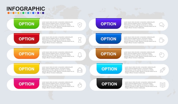 Infographic template for business 8 step timeline workflow with symbol and article. premium infographic banner set in vector