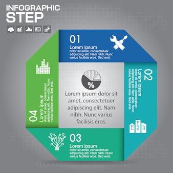 인포 그래픽 템플릿. 4 가지 옵션, 부품, 단계 또는 프로세스가 포함 된 비즈니스 개념.