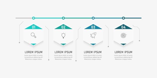 インフォグラフィックテンプレートは、プレゼンテーション、ワークフロー、プロセス図に使用できます。 Premiumベクター
