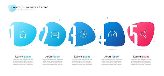 Infographic template composed of four numbered abstract shapes.