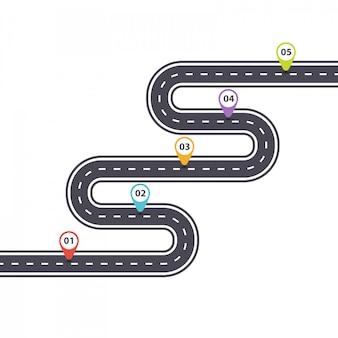 인포 그래픽 템플릿. 컬러 핀 포인터가있는 곡선 형 아스팔트 도로.