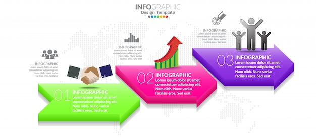 Infographic template design with 3 color options.