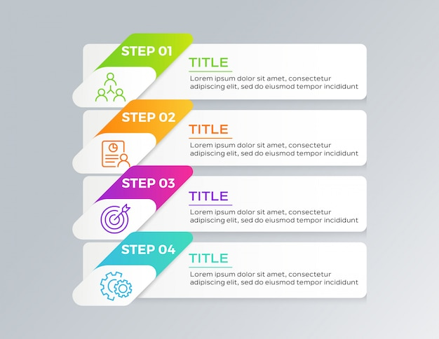 Infographic template design with 4 steps