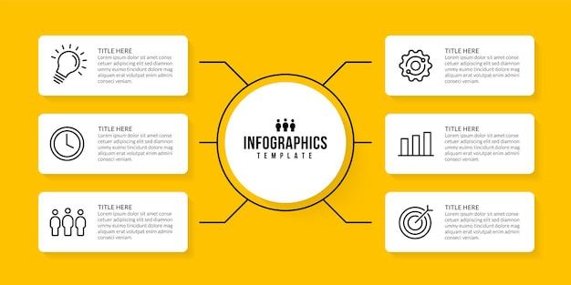 Дизайн шаблона инфографики с 6 вариантами на желтом фоне концепция визуализации бизнес-данных