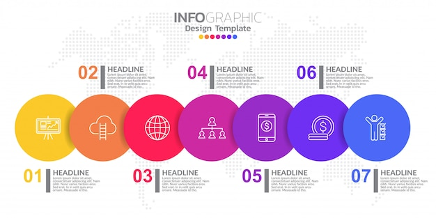 Infographic template design with 7 color options.