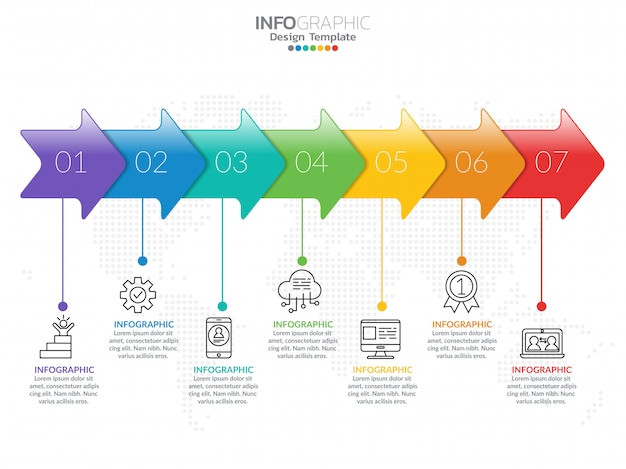Infographic template design with 7 color options