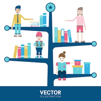 Infographic template design with book tree shelves and people.