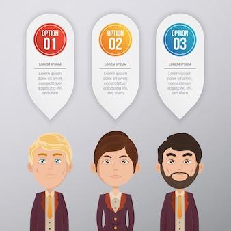 Дизайн инфографического шаблона с бизнес-персонажем