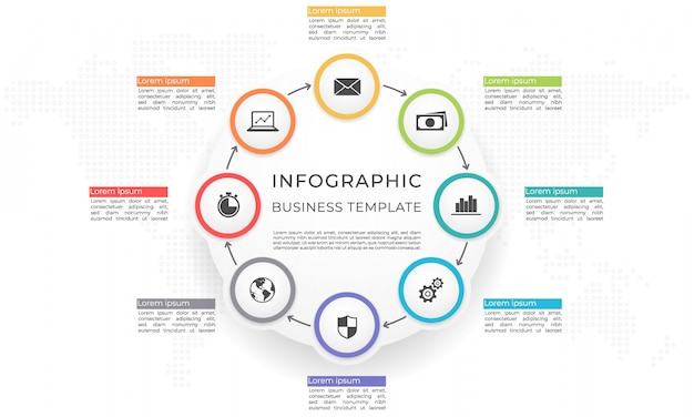Infographic template and diagram 8 options.