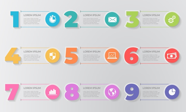 Infographic template elements number 9 options