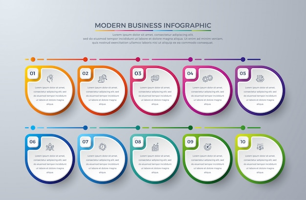 Infographic template elements with 10 process choices or steps