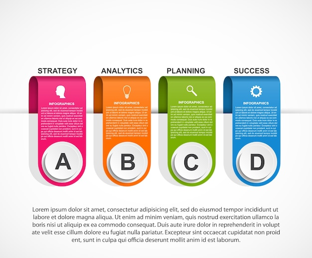 ビジネスプレゼンテーションや情報バナーのインフォグラフィックテンプレート