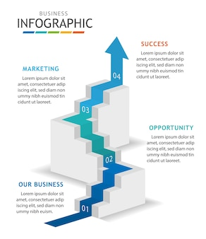 Infographic template for business with steps