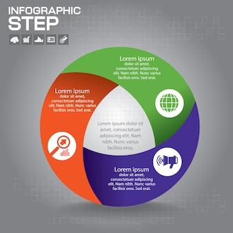 인포 그래픽. 다이어그램, 그래프, 프리젠 테이션 및 차트 템플릿. 4 가지 옵션, 부품, 단계 또는 프로세스가 포함 된 비즈니스 개념.