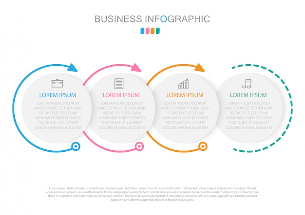 Infographic template in four steps