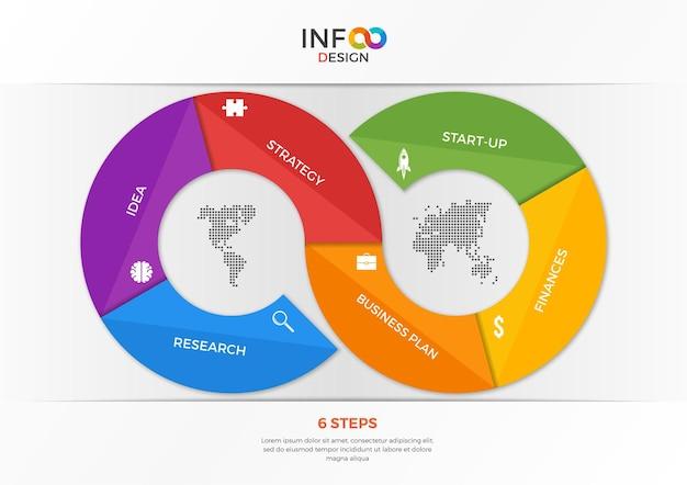 6ステップの無限記号の形のインフォグラフィックテンプレート。プレゼンテーション、広告、レイアウト、年次報告書、ウェブデザインなどのテンプレート
