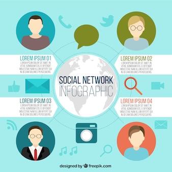 아바타와 소셜 미디어의 infographic 템플릿