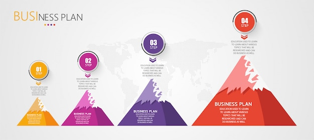 Infographic template for process or business presentations. mountain theme