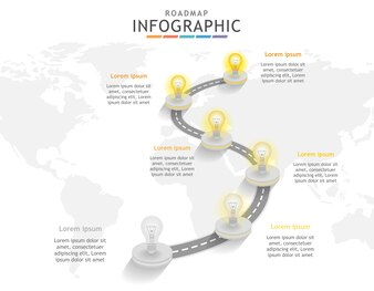 Infographic template, Roadmap diagram with light bulb.