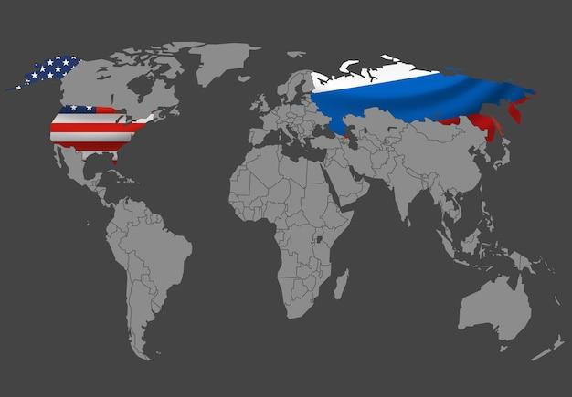 インフォグラフィックテンプレート。フラグ付きのロシアと米国のセレクター