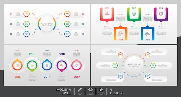 Infographic template set with modern style and colorful concept
