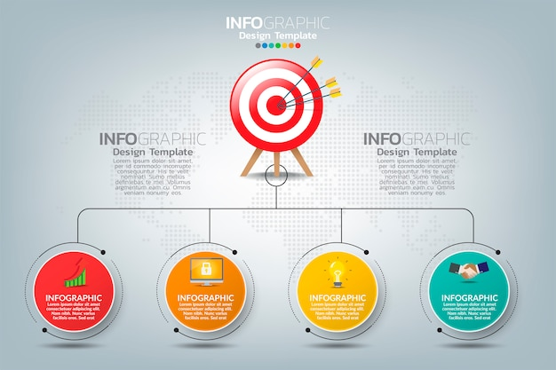 Infographic template target with four options and text space.