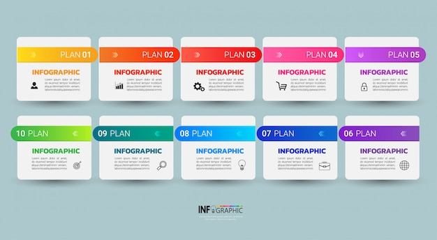 Infographic template ten steps.
