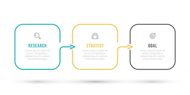 Infographic template. thin line design label with arrows and 3 options, steps or processes.