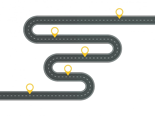 핀 포인터와 infographic 템플릿 와인딩 아스팔트 도로입니다.