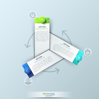 Infographic template with 3 rectangular elements