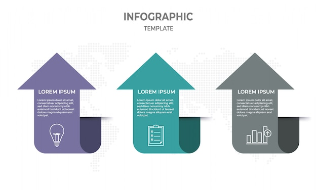 Infographic template with 3 steps, arrow style.