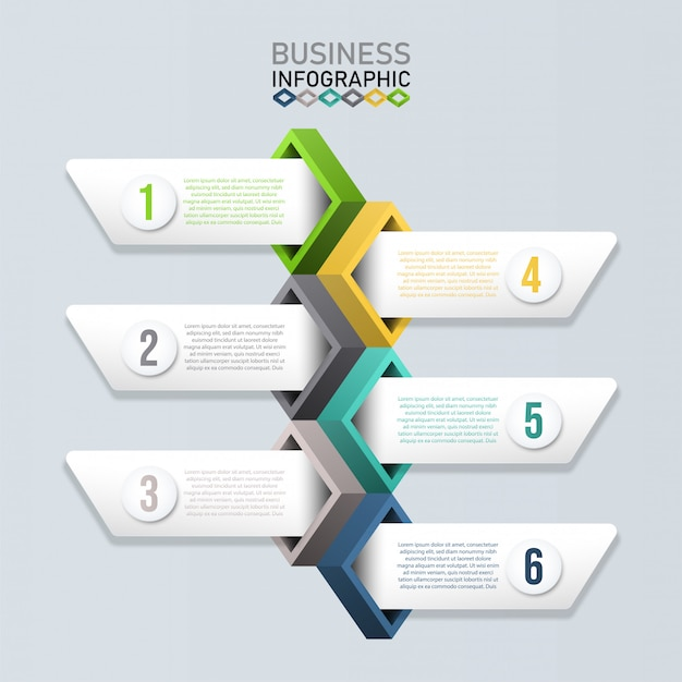 Infographic template with 3d paper. business concept for presentation.