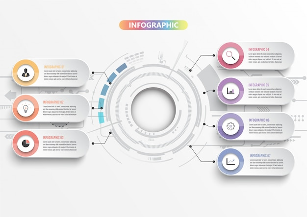Infographic template with 3d paper, integrated circles. business concept with 7 options. for content, diagram, flowchart, steps, parts, timeline infographics, workflow, chart.