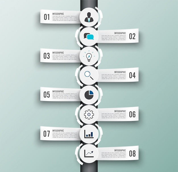 Infographic template with 3d paper label. business eight options.