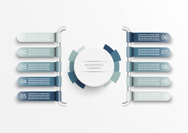 Infographic template with 3d paper label, integrated circles. business concept with 10 options.