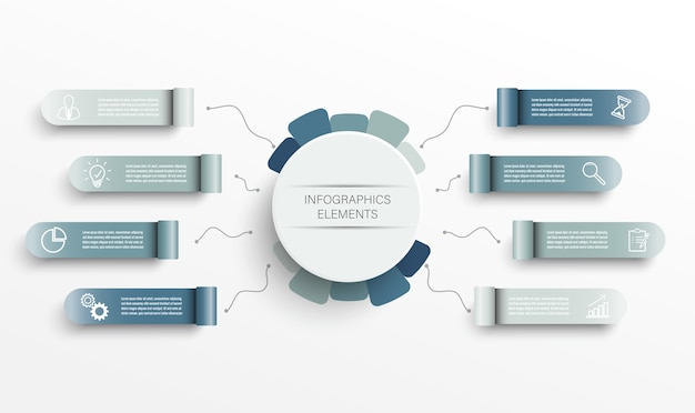 3d 종이 라벨, 통합 원이있는 인포 그래픽 템플릿. 8 가지 옵션이있는 비즈니스 개념. 콘텐츠, 다이어그램, 순서도, 단계, 부품, 타임 라인 인포 그래픽, 워크 플로, 차트의 경우.
