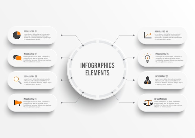 Infographic template with 3d paper label, integrated circles. business concept with