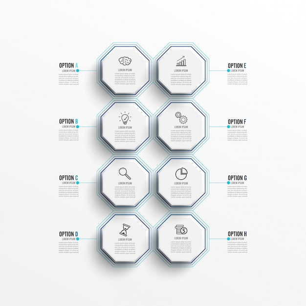 Infographic template with 3d paper label, integrated circles.