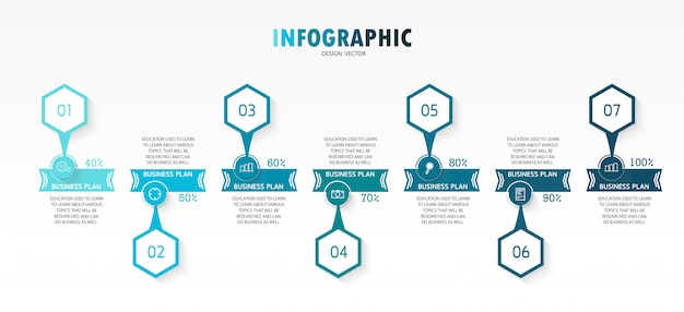 Infographic template with 3d paper