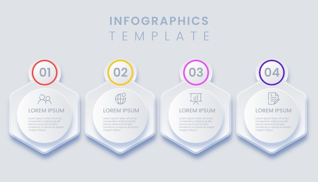 Infographic template with 4 options illustration