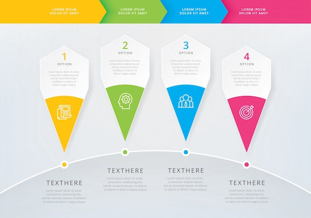Infographic template with 4 options or steps