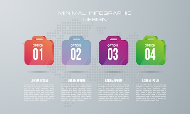 Infographic template with 4 options, workflow, process chart, timeline infographics design